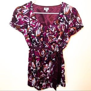 Mimi Maternity 100% Silk Floral Blouse Small